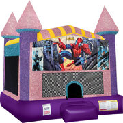 Spiderman Inflatable bounce house with Basketball Goal Pink