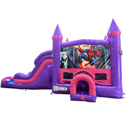 Spiderman Dream Double Lane Wet/Dry Slide with Bounce House