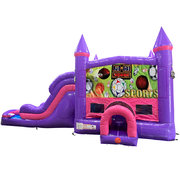 Sports Dream Double Lane Wet/Dry Slide with Bounce House