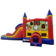 Sports Double Lane Water Slide with Bounce House