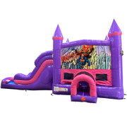 Superman Dream Double Lane Wet/Dry Slide with Bounce House
