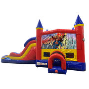 Superman Double Lane Water Slide with Bounce House