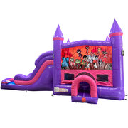Teen Titans Dream Double Lane Wet/Dry Slide with Bounce House