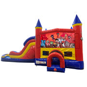 Teen Titans Double Lane Water Slide with Bounce House