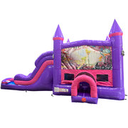 Tinkerbell Dream Double Lane Wet/Dry Slide with Bounce House