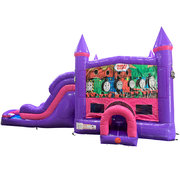 Train Dream Double Lane Wet/Dry Slide with Bounce House