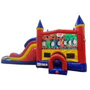 Train Double Lane Water Slide with Bounce House