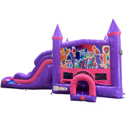 Trolls Dream Double Lane Wet/Dry Slide with Bounce House