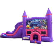 Under the Sea Dream Double Lane Wet/Dry Slide with Bounce House