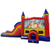 Unicorn Double Lane Water Slide with Bounce House