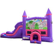 Unicorn Friends Dream Double Lane Wet/Dry Slide with Bounce House