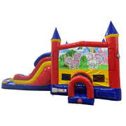 Unicorn Friends Double Lane Water Slide with Bounce House