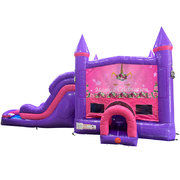 Unicorn Magical Dream Double Lane Wet/Dry Slide with Bounce House