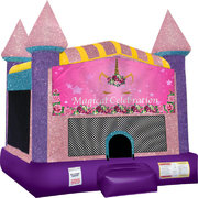 Unicorn Magical Inflatable bounce house with Basketball Goal Pink