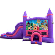 Veggie Tales Dream Double Lane Wet/Dry Slide with Bounce House
