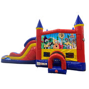 Veggie Tales Double Lane Water Slide with Bounce House