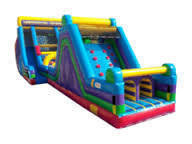 60 Ft. Obstacle course Vertical rush 20 Ft. tall, and 17 Ft. tall rock climb slide