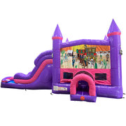Western Dream Double Lane Wet/Dry Slide with Bounce House