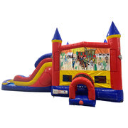 Western Double Lane Water Slide with Bounce House