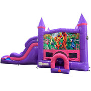 Winnie the Pooh Dream Double Lane Wet/Dry Slide with Bounce House