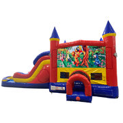 Winnie the Pooh Double Lane Water Slide with Bounce House