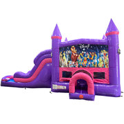 World of Disney Dream Double Lane Wet/Dry Slide with Bounce House