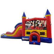 Wrestling Double Lane Water Slide with Bounce House