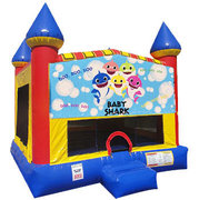 Baby Shark Inflatable bounce house with Basketball Goal