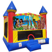Luau Inflatable bounce house with Basketball Goal