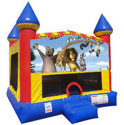 Madagasgar Inflatable moonwalk with basketball goal