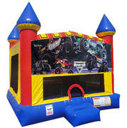 Monster Truck (2) Inflatable bounce house with Basketball Goal