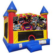 Race Cars Inflatable bounce house with Basketball Goal