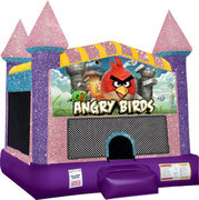 Angry birds Inflatable moonwalk with basketball goal pink
