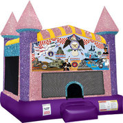 Armed Forces Inflatable bounce house with Basketball Goal Pink