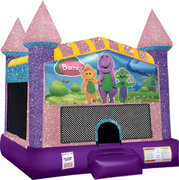 Barney Inflatable moonwalk with basketball goal pink