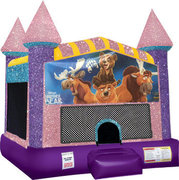 Brother Bear Inflatable moonwalk with basketball goal  pink