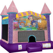 Bubble guppies Inflatable moonwalk with basketball goal pink