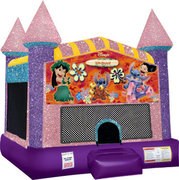 Lilo and Stitch bounce house with Basketball Goal Pink
