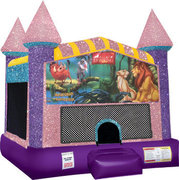 Lion King Inflatable bounce house with Basketball Goal Pink