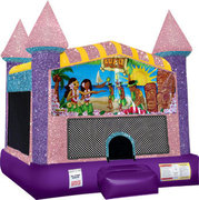 Luau Inflatable moonwalk with basketball goal pink