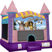Madagasgar Inflatable moonwalk with basketball goal pink