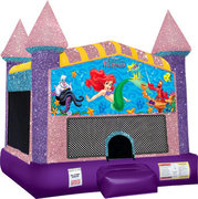 Little Mermaid Inflatable moonwalk with basketball goal pink