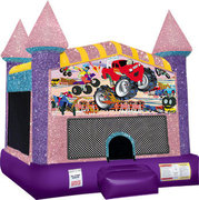 Monster truck (1) Inflatable moonwalk with basketball goal pink