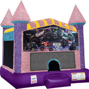 Monster truck (2) Inflatable moonwalk with basketball goal pink