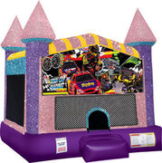 Race Cars Inflatable moonwalk with basketball goal pink