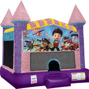 Paw patrol moonwalk with basketball goal pink