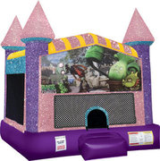 Zombies vs Plants Inflatable Bounce house with Basketball Goal Pink