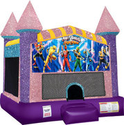 Power Rangers Inflatable moonwalk with basketball goal pink