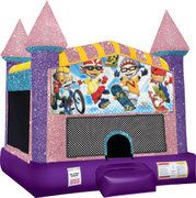 Rocket Power Inflatable moonwalk with basketball goal pink