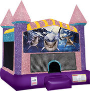 Shark Inflatable moonwalk with basketball goal pink